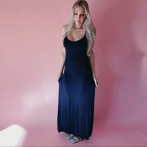 Club Monaco Navy Blue Low Back Maxi Dress